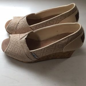 Tom's Women's size 7.5 cork wedge heel worn once.